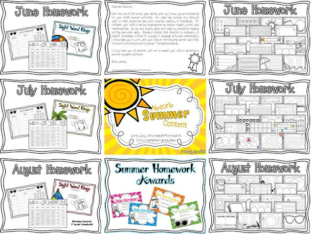 Summer Homework Pack for Graduating Kindergarteners!  Includes calendar, recording pages, book logs, sight word rings (pre-primer, primer, and 1st grade), and summer homework completion awards!