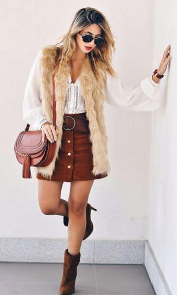 Look: Colete de Pelo + Chamois | Looks | Pinterest | Looks colete, Looks de inverno e Coletes de pele