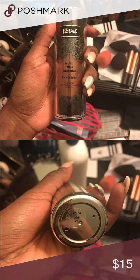 Kat Von D Lock it Tattoo Foundation Color Deep 72. Only tested out a pump so it's still full Kat Von D Makeup Foundation