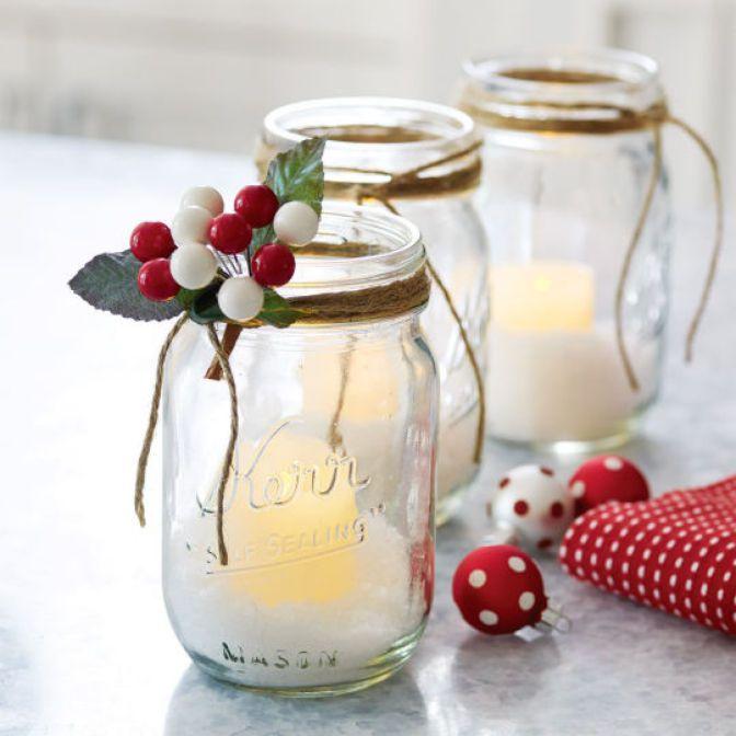 Diy mason jar led votive holders mason jars pinterest for Small led lights for crafts michaels