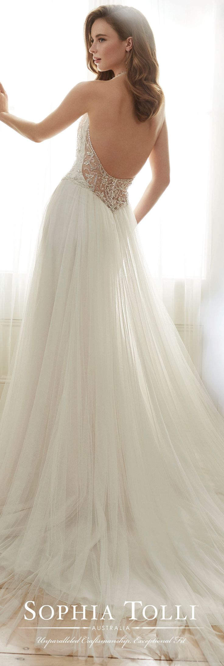 Sophia Tolli Spring 2017 Wedding Gown Collection - Style No. Y11714 Celestia - sleeveless tulle wedding dress with beaded illusion halter neckline and plunging sweetheart bodice