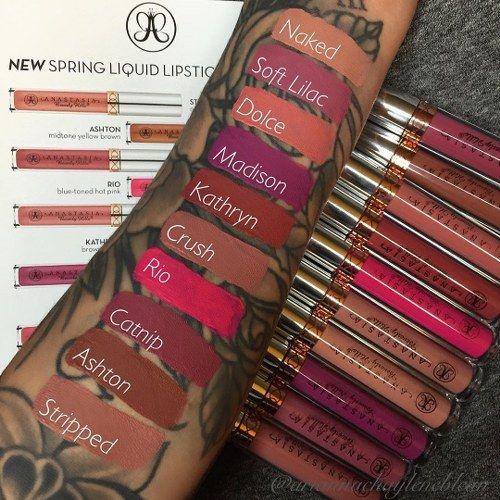 Ashton Madison Crush Rio Kathryn Stripped  Dolce Naked liquid lipsticks by anastasia beverlly hills swatches