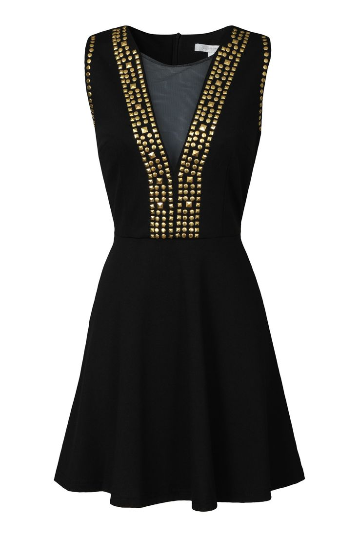 Mesh Gold Studded Dress