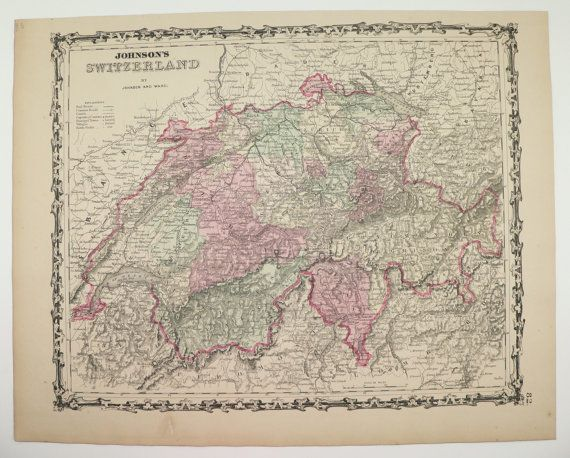 Antique Switzerland Map Vintage Map of Switzerland Old Original 1862 Johnson Swiss Alps Mountains Genealogy Gift Under 100 Gift for Home by OldMapsandPrints on Etsy