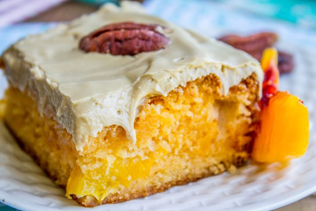 Peach Cake with Brown Sugar Frosting and MY SISTER WROTE A NOVEL, BUY IT! - The Food Charlatan