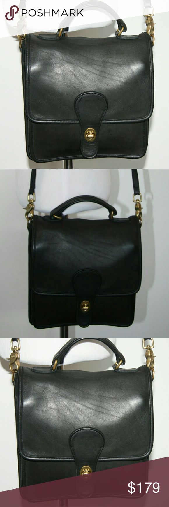 """Coach Vintage Station Bag in Black Fantastic Vintage Condition! Iconic Legacy Coach Purse: the Station Bag.  Vintage Coach Crossbody Bag. Black leather. Legacy Coach model.  Brass hardware.  Authentic classic Coach.  Coach hang tag.  All original hardware. Completely clean inside.  Serial No. A6L-5180.  9"""" wide x 9"""" tall x 3"""" deep.  21"""" strap drop.   B01070 Coach Bags Crossbody Bags"""