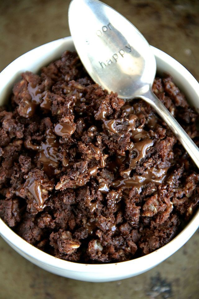 Brownie Batter Breakfast Bake -- Enjoy the rich chocolatey taste of brownies in a bowl that's healthy enough to eat for breakfast.