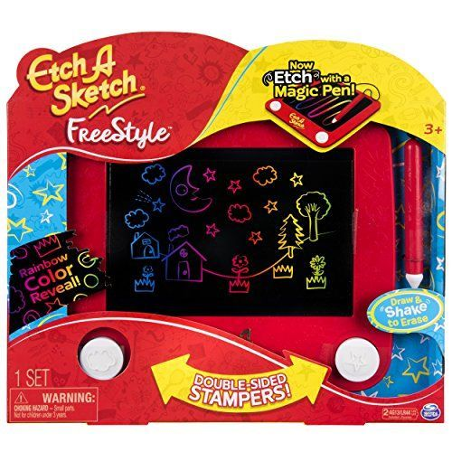 Etch A Sketch - Freestyle Toy  Etch A Sketch Freestyle is a modern twist on the classic toy. Kids use the stylus to doodle thick or thin rainbow-coloured lines and curves.  The classic knobs on the original Etch A Sketch have been transformed into double-sided stampers! Use them to add shapes and patterns to your drawing.  Shake up and down and the Etch A Sketch Freestyle magically erases. Doodle again and again and again!  Etch A Sketch Freestyle is made for kids aged 3+. 2 x AG13 bat...