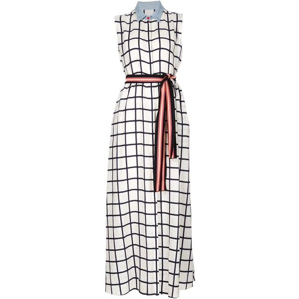 Novis sleeveless checked shirt dress (17 345 UAH) ❤ liked on Polyvore featuring dresses, white, sleeveless dress, white day dress, white sleeveless dress, white print dress and long white shirt dress