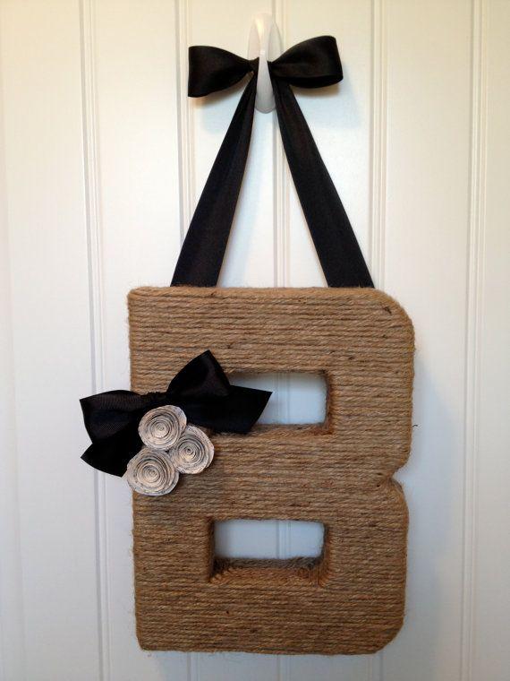The Original Jute Monogram Wreath. Handmade by EmbellishedLiving