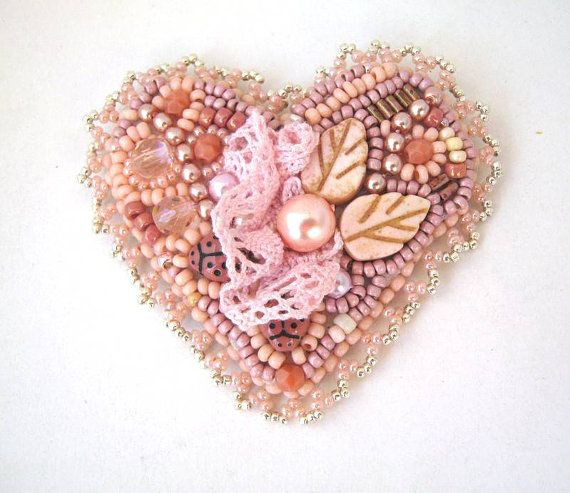 Heart brooch Bead embroidered brooch Peach brooch Beaded by ibics | Etsy
