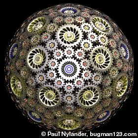 Here is a set of 242 interlocking bevel gears arranged to rotate freely along the surface of a sphere. This sphere is composed of 12 blue gears with 25 teeth each, 30 yellow gears with 30 teeth, 60 orange gears with 14 teeth, and 140 small red gears with 12 teeth. I also found 3 other gear tooth ratios that will work, but this one was my favorite because the small gears emphasize the shape of a truncated rhombic triacontahedron.