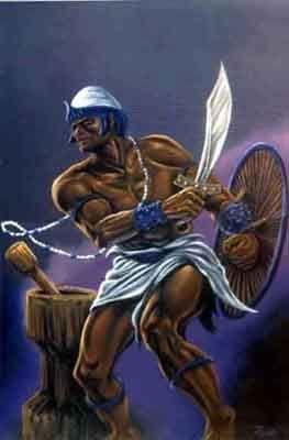Oxaguian na mitologia yorubá é um jovem guerreiro, um Oxalá jovem, seria filho de Oxalufon. Seu templo principal é em Ejigbo, estado de Ọsun