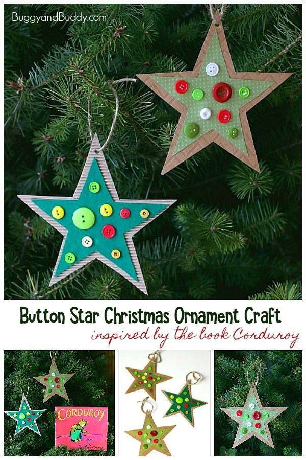 Button Star Christmas Ornament Craft For Kids Inspired By Corduroy Buggy And Buddy Christmas Ornament Crafts Ornament Crafts Christmas Tree Crafts