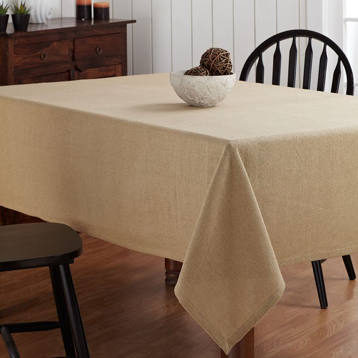 Delightful Burlap Natural Tablecloth 60 X 80
