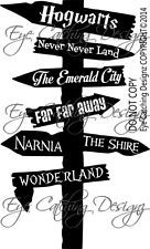 Fairytale Road Sign Never Never Land Hogwarts Narnia The Shire Wall Decal Art