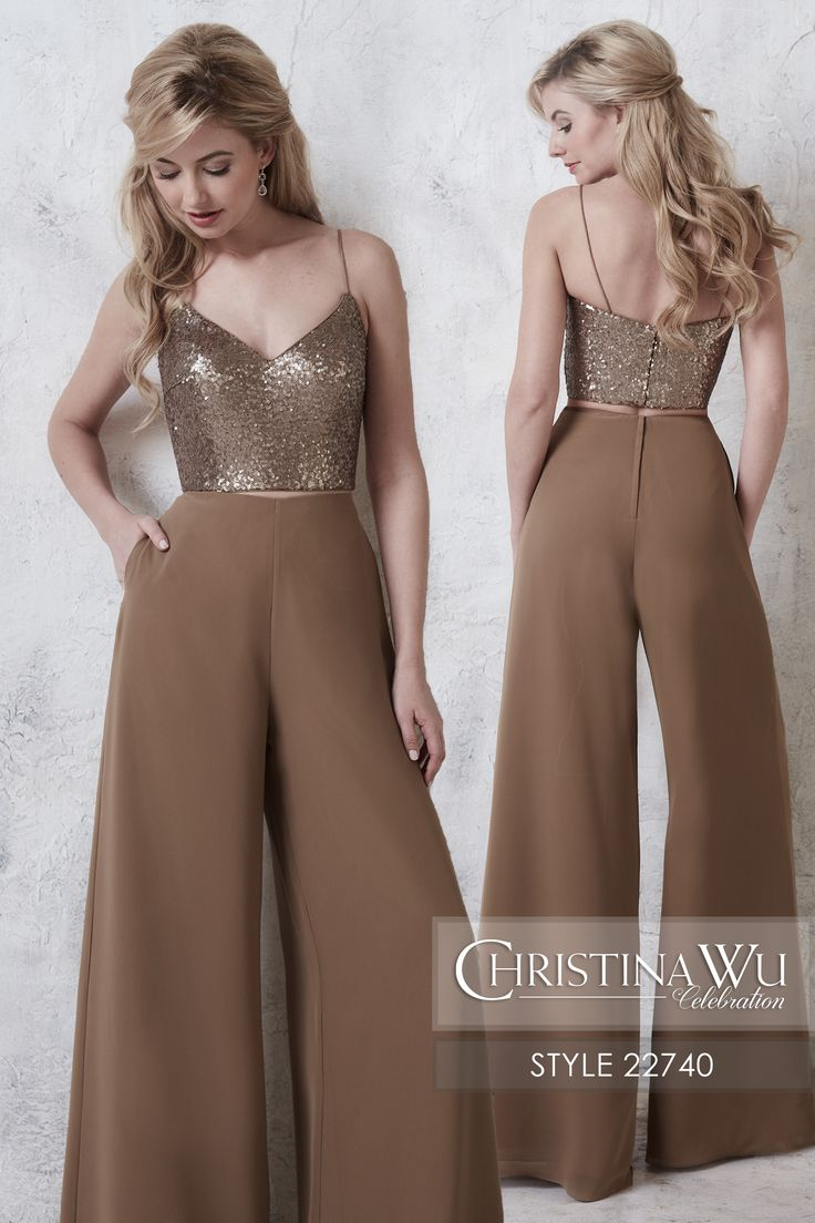 #ChristinaWuCelebration Style 22740 Two-piece sequin sweetheart bodice and chiffon pants with lining. The pants and the top both have zipper closures. MATERIAL Sequins & Chiffon SILHOUETTE Pant NECKLINE V-Neck COLOR Sequins available in all sequins colors, chiffon available in all chiffon colors