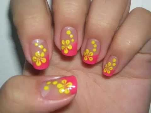 Nail Design Tutorial: Pink French with Yellow Flowers - YouTube