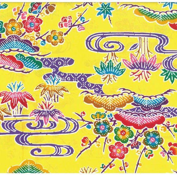 紅型柄 プリント生地 黄 巾114cm×長100cm