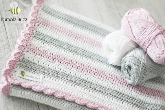 Stormy  Crochet Baby Blanket  Rose by BumbleBuzzBaybeez on Etsy