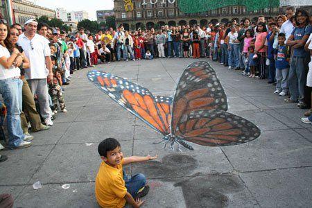 Butterfly 3D sidewalk chalk art