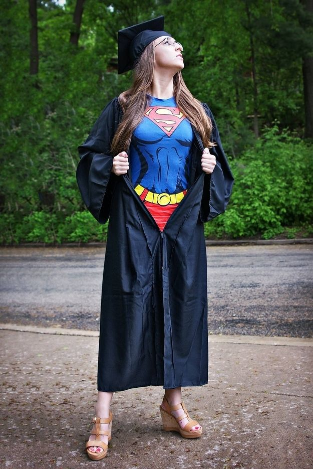 Be a superhero. This picture is so great, only I'd do wonder woman | 20 Foolproof Ways To Win At Graduating