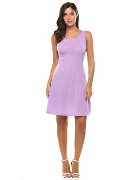 Purple Sleeveless Lace Up Backless A-Line Tank Going Out Dress