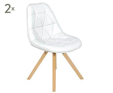 Набор из 2 стульев - дерево - белый, 52х41х84 см