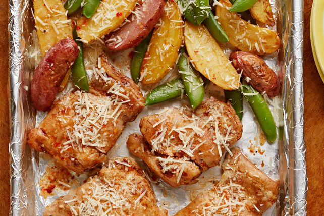 Make our One-Pan Chicken and Potatoes with Snap Peas  dish for a hearty entrée. Explore this One-Pan Chicken and Potatoes with Snap Peas recipe today!