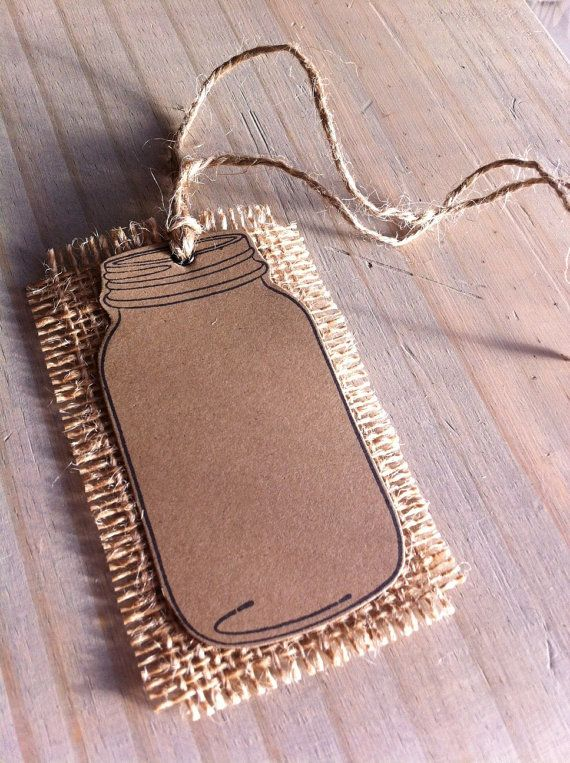 5 Blank Mason Jar Tags Burlap Tags Country by BoondocksPaperCo, $4.00