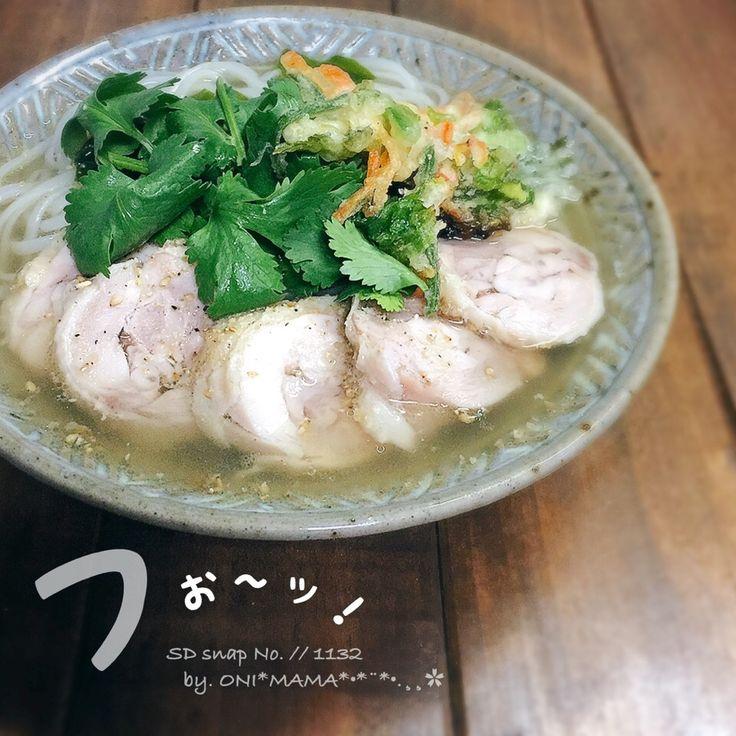 ONI MAMA's dish photo アッチさんの料理 パクチーかき揚げそば フォー | http://snapdish.co #SnapDish #レシピ #美容/ダイエット #フォー