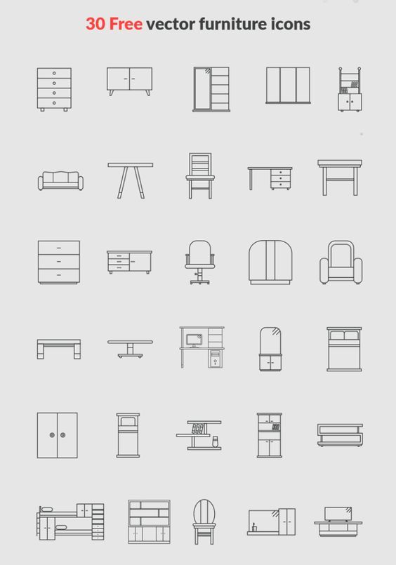 30 Free vector furniture icons | Pixlov: