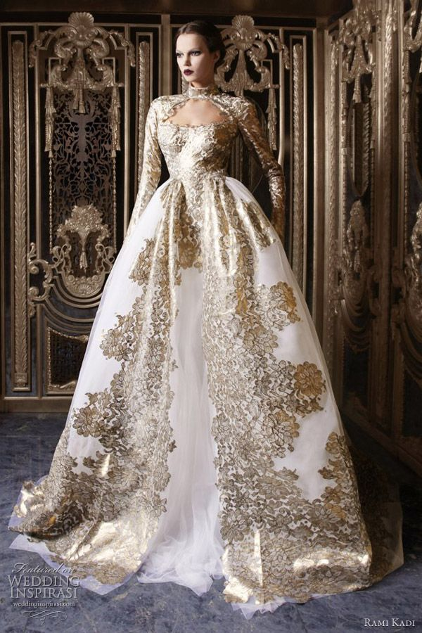 Wedding Gowns With Sleeves Rami Kadi Couture 2017 White Gold Ball Gown Dress Long