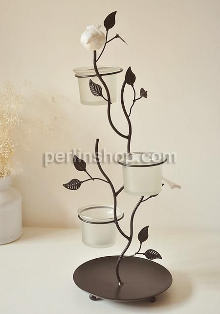Kerzenhalter, Eisen, mit Glas, Baum, Spritzlackierung, braun, frei von Nickel, Blei & Kadmium, 140x140x390mm