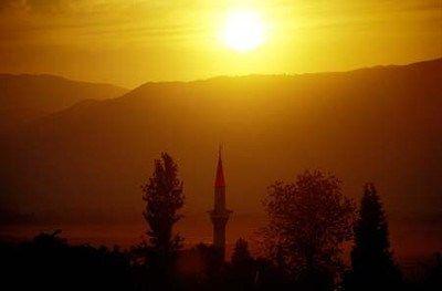 Mosque at sunset at Pamukkale,Turkey