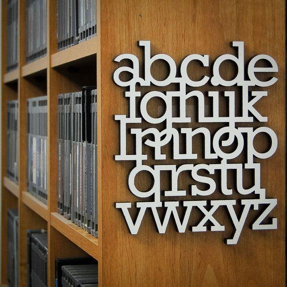 Small Rockwell Abecediary in White by Abecediary on Etsy, $20.00: Alphabet Theme, Decor, Alphabet Typography, Bookshelves, 20 00, Etsy, Cute Ideas, Art, Alphabet 3D