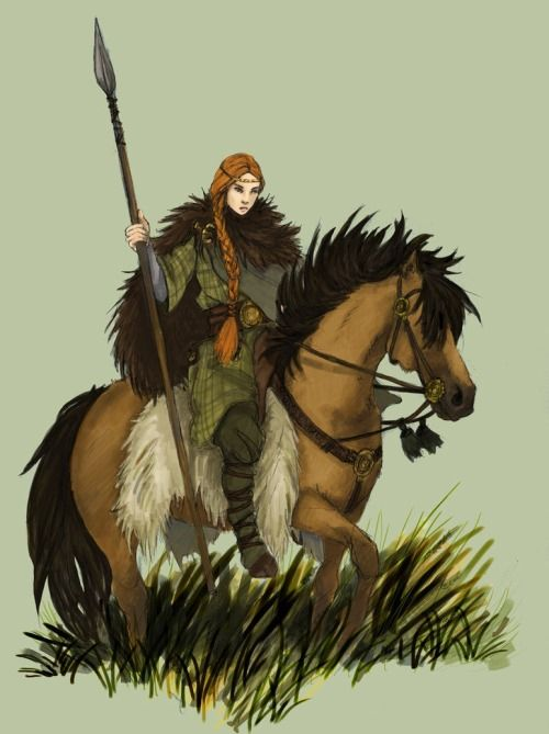Isgerd to the rescue on her swamp-mule, by Magdalena (Werdandi).
