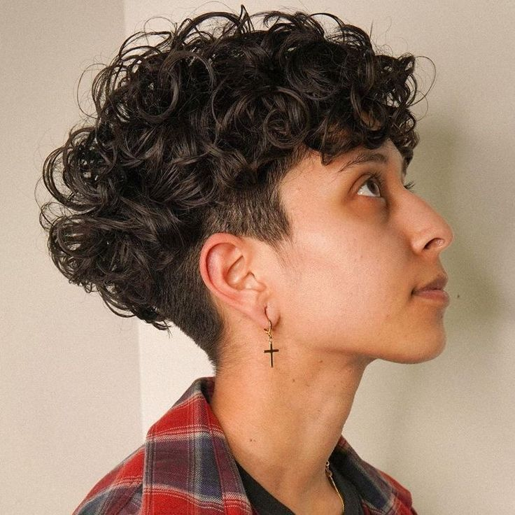 undercut in 2020   Short curly hair, Curly hair women ...