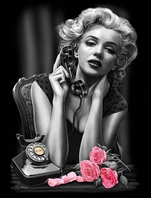 Heartbreaker by David Gonzales Tattoo Canvas Art  Print  Marilyn Monroe Roses #TattooArt