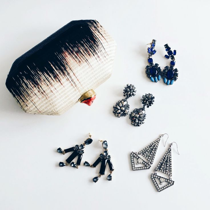My Ale Walsh clutch arrived in time for the wedding...OBSESSED (will give you a better look on Snapchat)  Now just to decide which earrings! What do you think?  Shop all these lovelies at myshiningarmour.com/earrings