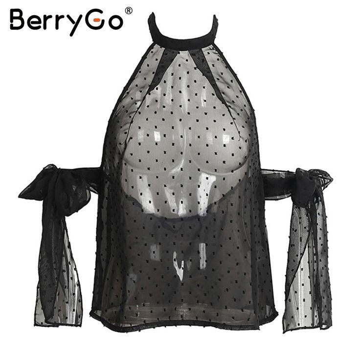 Aliexpress.com : Buy BerryGo Backless summer blouse chemise femme blusas Halter off shoulder blouse shirt women tops Transparent white chiffon blouse from Reliable white chiffon blouse suppliers on BerryGo Offical Store