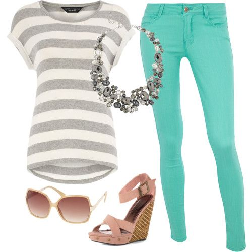 Mint jeans -- colored skinny jeans in general. I can totally see Sarah pulling these off a shelf and handing them to me. Also the necklace. And sunglasses.