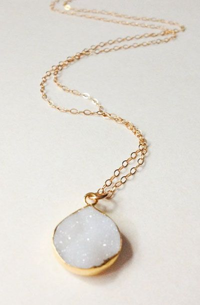 Lovely Clusters - Beautiful Shops: White Druzy Necklace