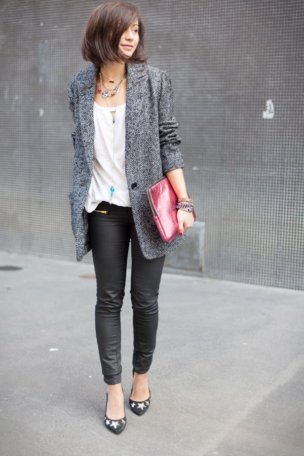 Coated skinnies, boyfriend coat, funky heels, a load of necklaces and a colourful clutch
