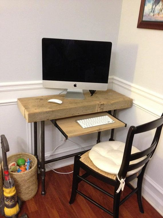 Small Urban Laptop / Computer Desk Reclaimed Wood w/ by DendroCo, $340