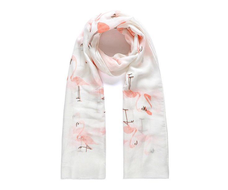 Pink flamingo print scarf