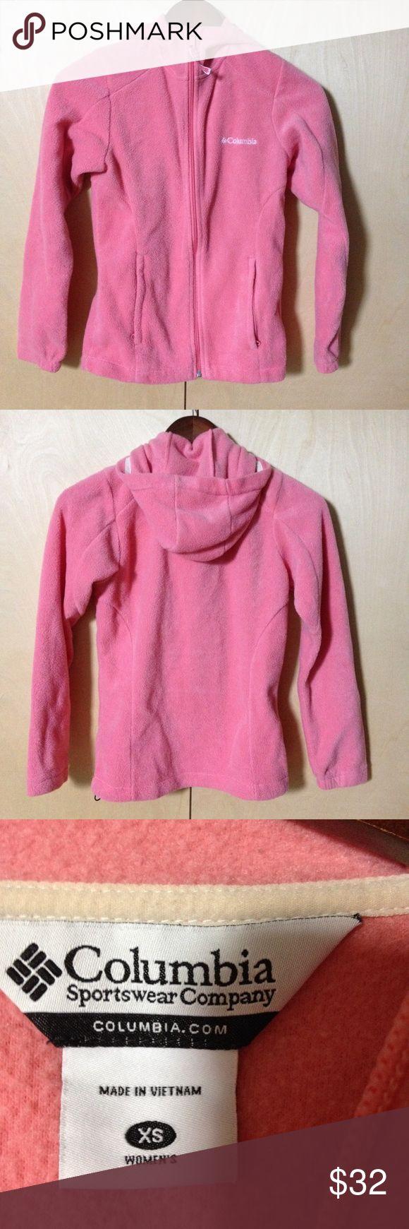 Columbia pink zip up hoodie fleece sz XS pockets Columbia Sportswear Company pink zip up hoodie fleece sz XS pockets Columbia Tops Sweatshirts & Hoodies