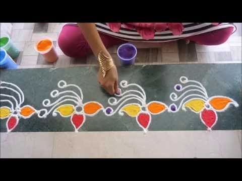 Colorful Border Rangoli Design - YouTube