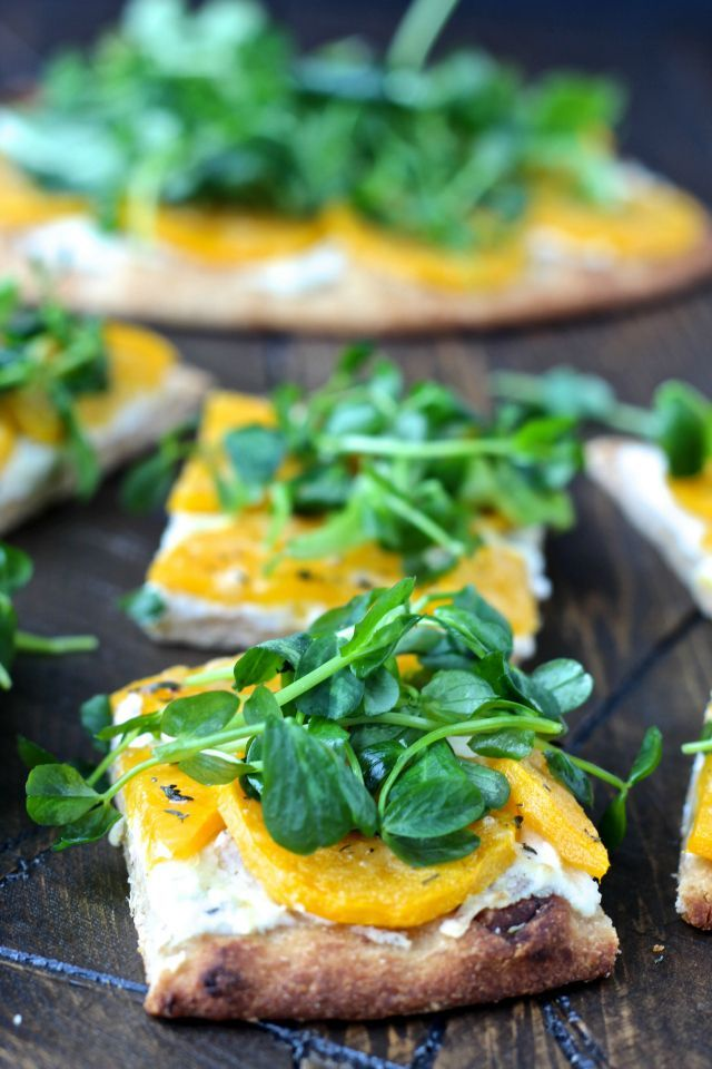 Butternut Squash Flatbread with Sweet Pea Greens-  colorful, vibrant and delicious, this nutritious, vegetarian flatbread is a feast for the senses. | @foodiephysician