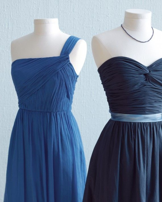 """Bridesmaids are a girl's best friends. Outfit yours in figure-flattering shirring and colors that don't scream """"wedding party!"""" and they'll stay that way.From left: J.Crew """"Lucienne"""" dress #47995; Dessy Collection dress #2823 with M&J Trimming ribbon belt #25179; Anne Sportun lapis necklace N1224."""